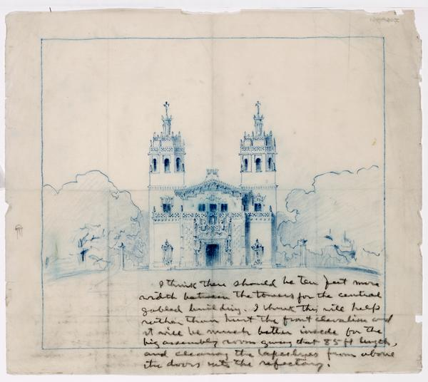 Morgan's sketch of Casa Grande in blue pencil with notes written by Hearst in the lower right corner.